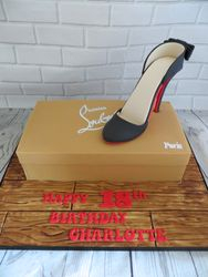 Louboutin shoe and shoe box cake