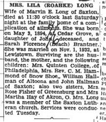 Long, Lila Brantner Hallman 1940 - 2nd obit