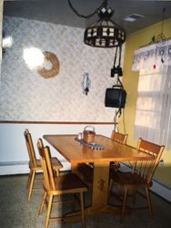 Natural Oak trestle table and chairs