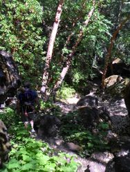 Walking down to Avenue of Giant Boulders