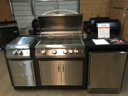 Blaze grill island w/ rotisserie, burner, fridge, drawers & doors