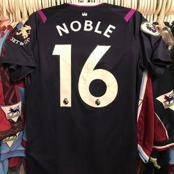 Captain Mark Noble worn, signed 2019/20 poppy shirt.
