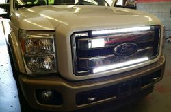 F250 LED Bars installed in Grill