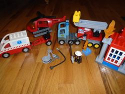 Lego Duplo Town Fire Truck, Ambulance & Helicopter - $40
