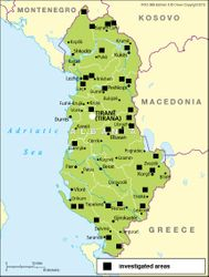 Studied Areas in Albania