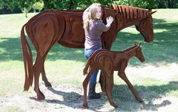 Mare and Foal - Corten Steel