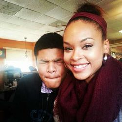 "Demetria McKinney & Her Son @ ""iHop"" on January 13, 2013"