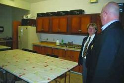 MPP Steve Clark and Vicki Downey touring the old kitchen