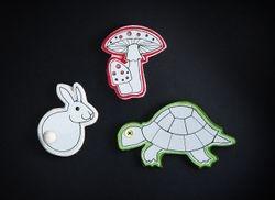 Heijastavat korut, bunny, turtle and mushroom