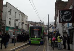 Tram #2555 at the foot of Church Street.