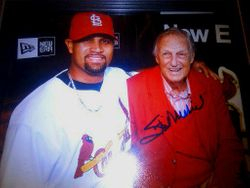 STAN MUSIAL Albert Pujols Autographed 8x10 Photo w/coa 2011 World Series RARE