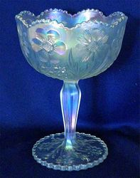 Cosmos and Cane jelly compote in white, U.S. Glass