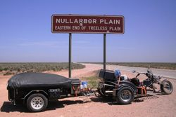 Trike & Trailer at the start of the Nullarbor Plain