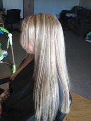 After blond highlights.