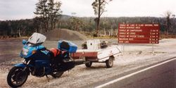 Tom's K75RT & Camper Trailer at Cradle Mountain after the 1996 AGM Hobart - Mar 1996