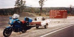 Tom's K75RT & Camper Trailer at Cradle Mountain after the 1996 AGM Hobart - Mar 1996