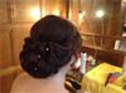 Flip in Hair added length and volume for this Elegant updo