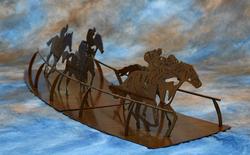 Far Turn - Metal Horse Racing Sculpture
