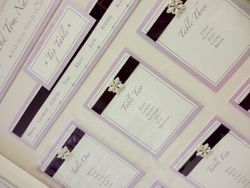 Ribbon and Pearl Diamante Lilac Table Plan Framed