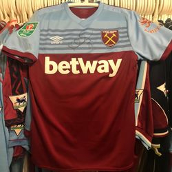 Mark Noble worn signed home Carabao Cup 2019/20 shirt