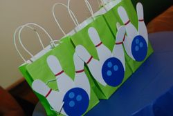 Bowling Ball & Pin  gift bags for prize winners