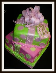 Green and Pink Present Cake