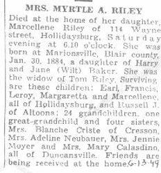 Riley, Myrtle Baker 1949