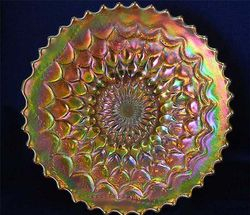 "Fishscale and Beads 7"" plate, marigold/pumpkin"