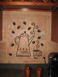 close up on the coffee motif
