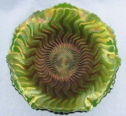 Zig Zag 6ruffled bowl, green