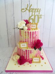 Two Tier 60th Birthday Drip Cake