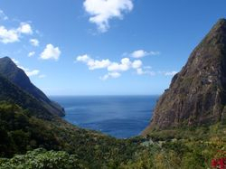 The view of the Pitons from Dasheen restaurant