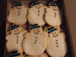 Snowman Cookies (with sugar crystals)
