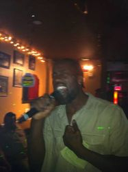 Mr. Hollywood layin it down for the crowd at Carmen & Patty's Birthday Celebration (502 Bar Lounge's Social Saturday Karaoke Night)!