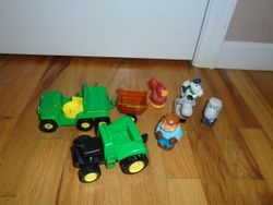 John Deere Toy Farm Tractor & Jeep With Animals - $10