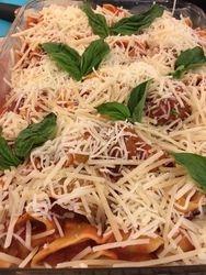 Pasta Casserole with Meatballs & Basil