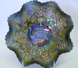 Peacock and Urn, ruffled bowl, blue