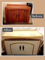 Sideboard with writing