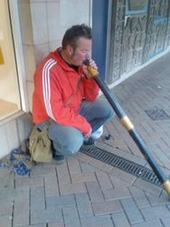 Chris would play his Didgeridoo anywhere!