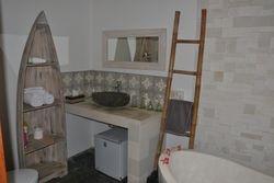 Indoor bathroom with mini bar