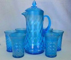 Concave Diamonds water set in celeste blue