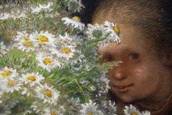 Millet, Woman with Flowers, pastel, detail, Orsay