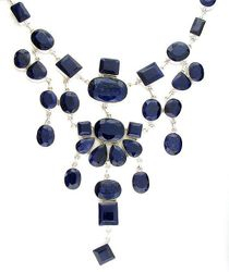 Mixed Cut Blue Sapphire and Sterling Silver Necklace