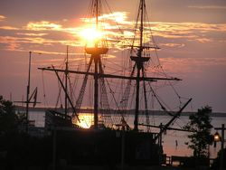 The Mayflower on Plymouth Harbor