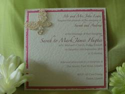 Cerise Flutterby Postcard Invite