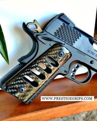 1911 with HORIZONTAL CUTS Gloss Black CF MOUNTED