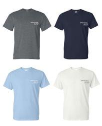 T-Shirts. Heavyweight, 50/50.  Dark Heather, Navy Blue, Light Blue or White