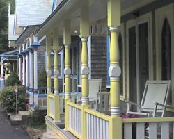 Cottage porches in Oak Bluffs