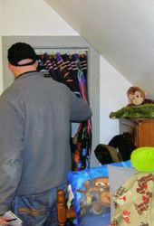 Wayne inspects closet which was
