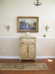 WALL SCONCES, ANTIQUE FRAMED                        SIGNED OIL AN CANVAS, ANTIQUE DISTRESSED DECORATOR CABINET (GREAT LOOK),  ATMOS PERPETUAL MOTION CLOCK WITH BLUE SCREWS, RUNNER